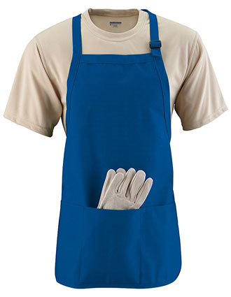 AU-4250-Unisex Medium Length Apron With Pouch Pocket