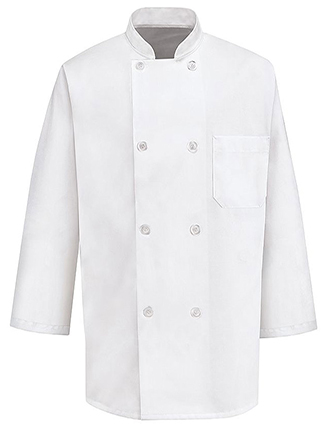 CH-0402WH-Chef Designs Unisex Three Quarter Sleeve Chef Coat