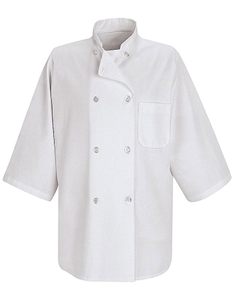 CH-0404WH-Chef Designs Unisex Half Sleeve Chef Coat