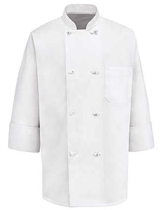 CH-0411WH-Unisex Eight Knot Button Chef Coat
