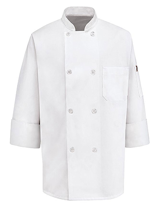 CH-0413WH-Chef Designs Unisex Double Breasted Eight Pearl-Button Chef Coat