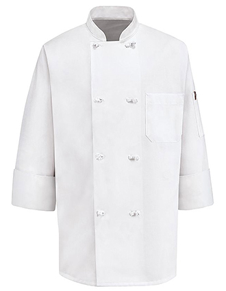 CH-0414WH-Unisex Eight Knot Button White Chef Coat