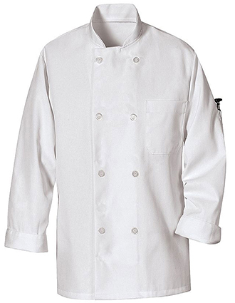 CH-0423WH-Chef Designs Unisex Chest Pocket Eight Pearl-Button Chef Coat