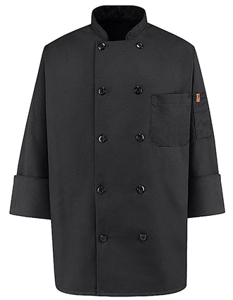 CH-0425BK-Unisex Ten Button Black Chef Coat
