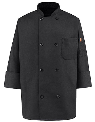 CH-KT76BK-Unisex Eight Button Black Chef Coat