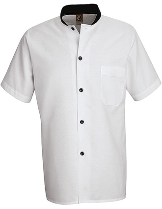 CH-SP04-Chef Designs Unisex Black Trim Cook Shirt