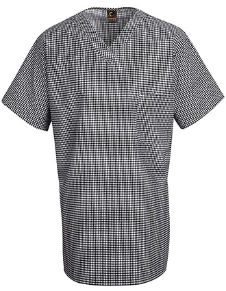 CH-SP08-Unisex Checked V Neck Chef Shirt