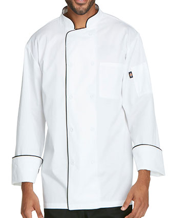 DI-DC411-Dickies Chef Unisex Cool Breeze Chef Coat with Piping