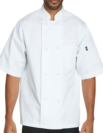 DI-DC48-Dickies Chef Unisex Classic Knot Button Short Sleeve Chef Coat