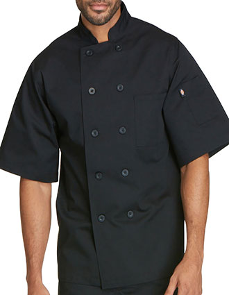 DI-DC49-Dickies Chef Unisex Classic Ten Button Short Sleeve Chef Coat