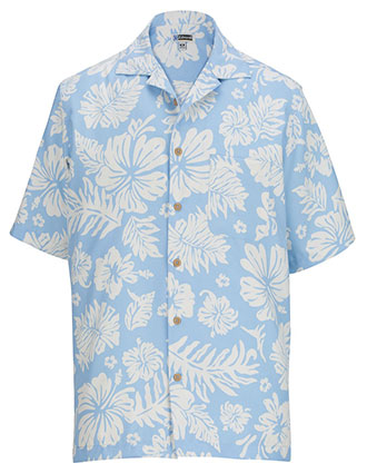 ED-1036-Edwards Unisex Hibiscus Two Color Camp Shirt