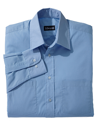 ED-1160-Mens Two Pocket Broadcloth Long Sleeve Shirt