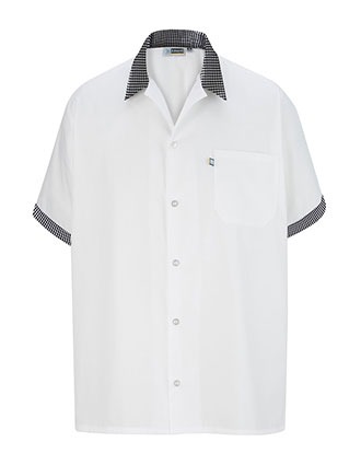 ED-1304-Men's Button Front with Trim Cook Shirt