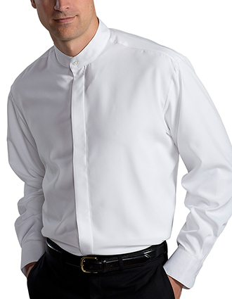 ED-1392-Men Batiste Banded Collar Cook Shirt