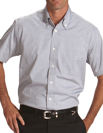 ED-1925-Mens Pinpoint Short Sleeve Oxford Shirt