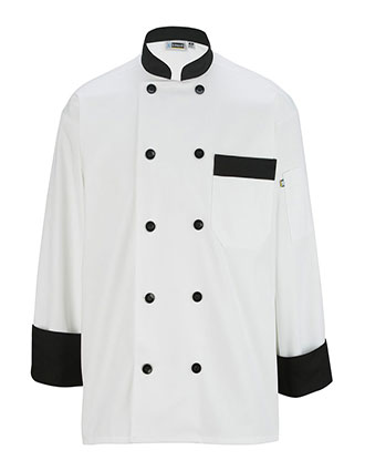 ED-3303-Uisex Classic 10 Button Chef Coat with Black Trim