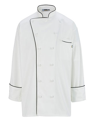ED-3308-EXECUTIVE 12 CLOTH BUTTON CHEF COAT W/BLACK TRIM