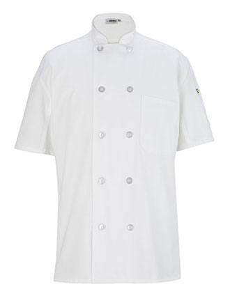 ED-3333-TEN BUTTON CHEF COAT WITH BACK MESH