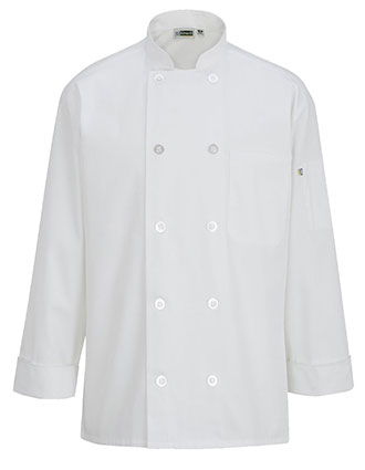 ED-3363-10 BUTTON CHEF COAT WITH MESH
