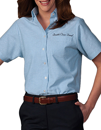 ED-5027-Womens Short Sleeve Oxford Shirt