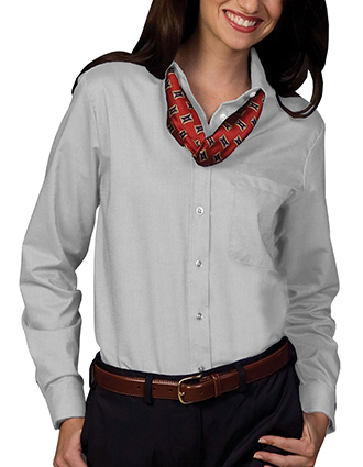 ED-5077-Womens Long Sleeve Oxford Shirt