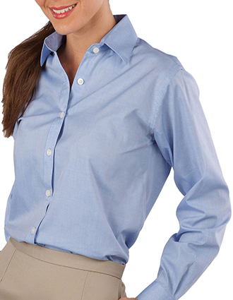 ED-5975-Womens Pinpoint Long Sleeve Oxford Shirt