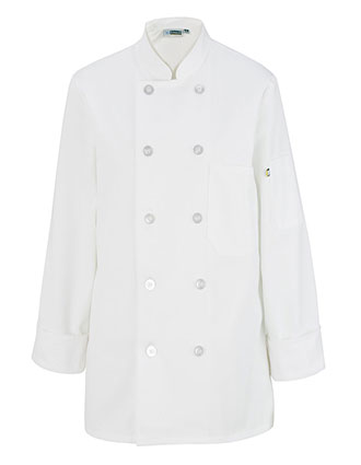 ED-6301-LADIES' 10 BUTTON LONG SLEEVE CHEF COAT