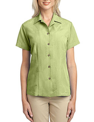 PO-L536-Womens Patterned Easy Care Camp Shirt