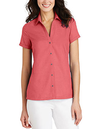 PO-L662-Womens Textured Camp Shirt