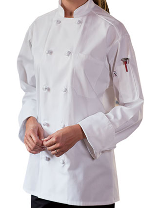 UN-0403C-Uncommon Threads Women's Classic Knot Chef Coat