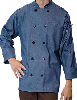 UN-0405C-Uncommon Threads Men's Denim Blue Chambray Chef Coat