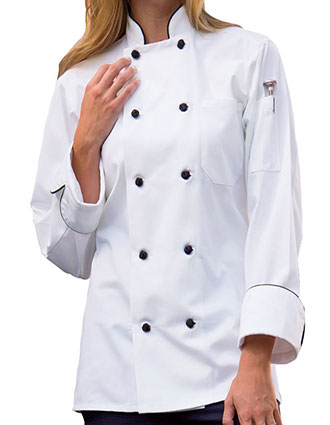 UN-0408-Uncommon Threads Women's White Barcelona Chef Coat