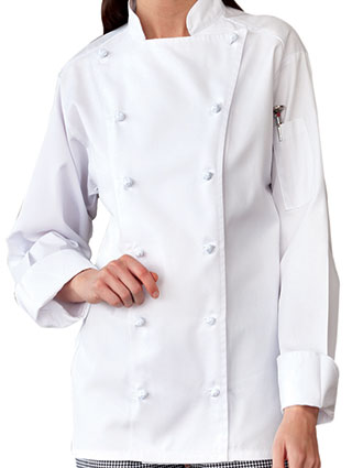 UN-0411-Uncommon Threads Women's White Mirage Chef Coat