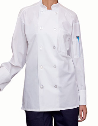 UN-0422-Uncommon Threads Unisex Classic Poplin with Mesh Chef Coat