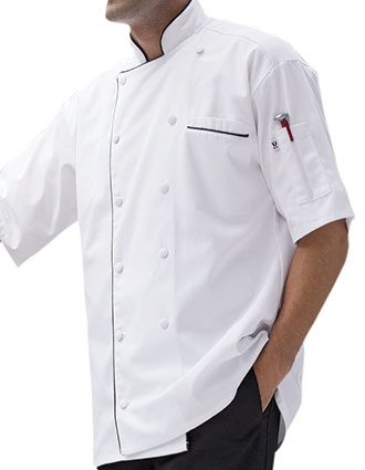 UN-0431-Uncommon Threads Men's Short Sleeve Montebello Chef Coat