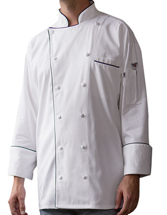 UN-0442C-Uncommon Threads Men's White Provence Chef Coat