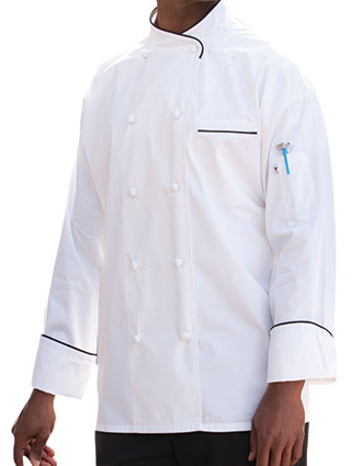 UN-0455EC-Uncommon Threads Men's White Luxembourg Chef Coat