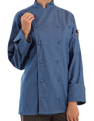 UN-0460C-Uncommon Threads Women's Chambray Santa Fe Chef Coat