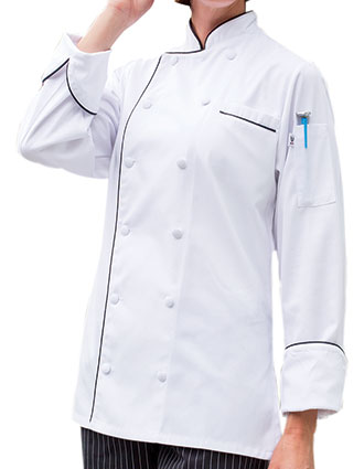 UN-0471-Uncommon Threads Women's Silhouette Long Sleeves Lia Chef Coat