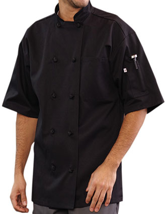 UN-0484-Unisex Classic Monterey Short Sleeve Chef Coat