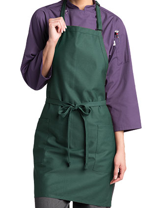 UN-3016-Uncommon Threads Unisex Bib Two-Patch Pocket Apron